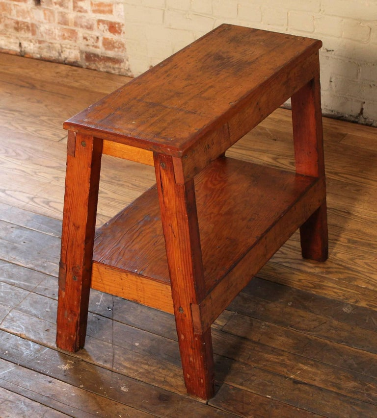 American Wooden Bench/Side or End Table Factory Shop Two-Tier Industrial For Sale
