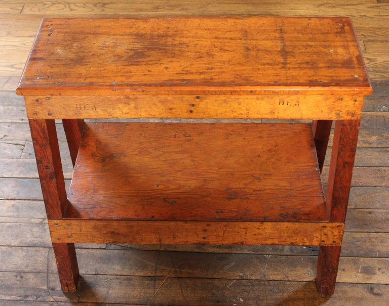Wooden Bench/Side or End Table Factory Shop Two-Tier Industrial In Good Condition For Sale In Oakville, CT