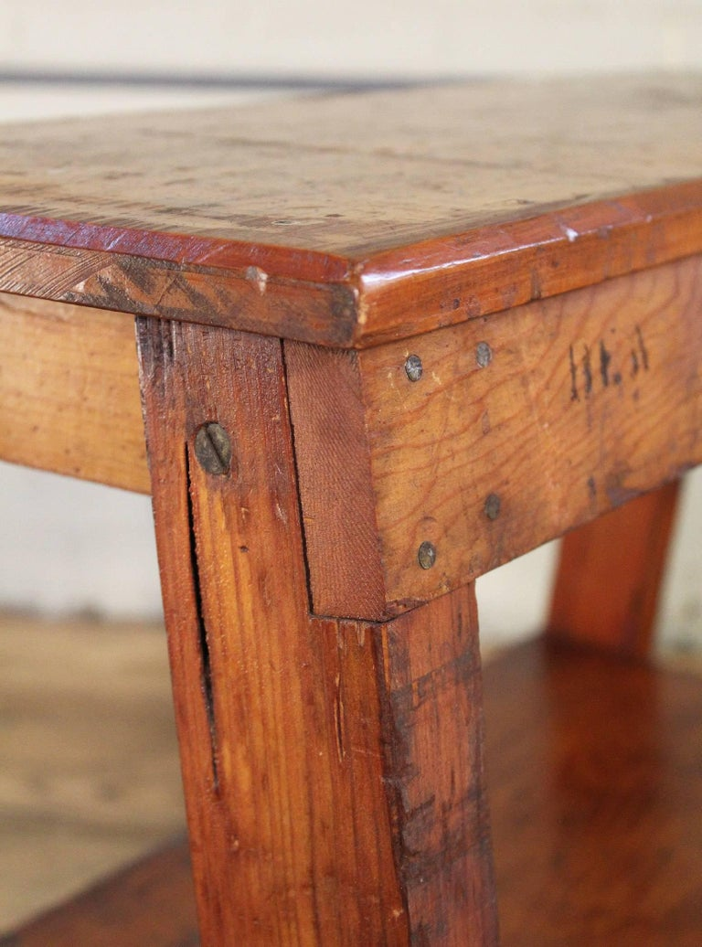 20th Century Wooden Bench/Side or End Table Factory Shop Two-Tier Industrial For Sale