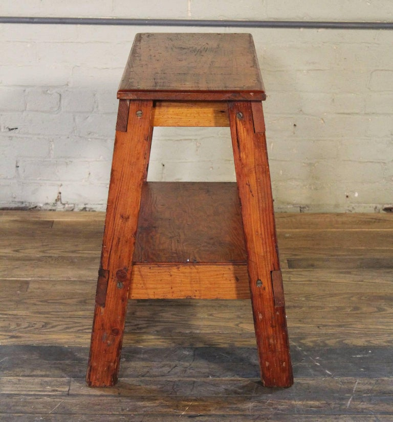 Wooden Bench/Side or End Table Factory Shop Two-Tier Industrial For Sale 1