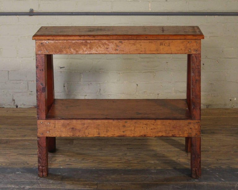 Wooden Bench/Side or End Table Factory Shop Two-Tier Industrial For Sale 3