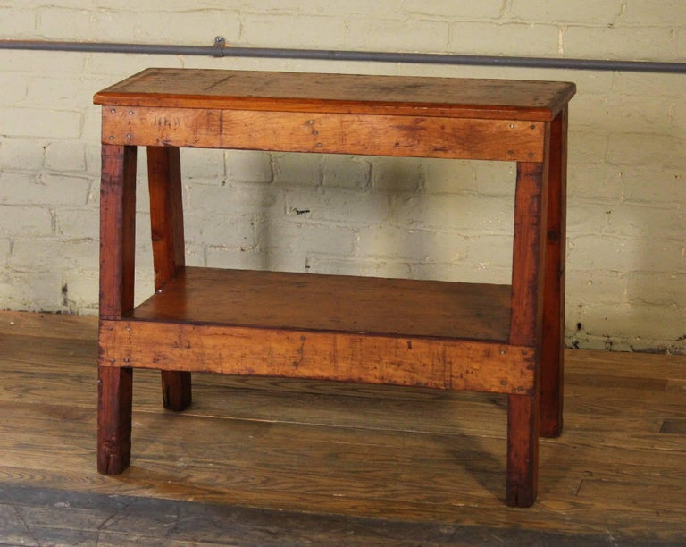 Wooden Bench/Side or End Table Factory Shop Two-Tier Industrial For Sale 4