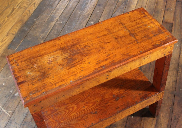 Wooden Bench/Side or End Table Factory Shop Two-Tier Industrial For Sale 5
