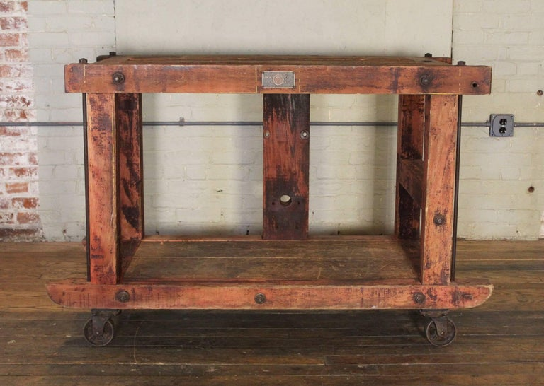 Rolling Kitchen Island Table Or Cart Rustic Vintage Wood