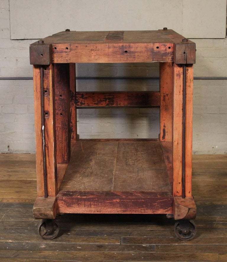 Urban Industrial Age Kitchen Warehouse Cart Island By: Rolling Kitchen Island Table Or Cart Rustic Vintage Wood