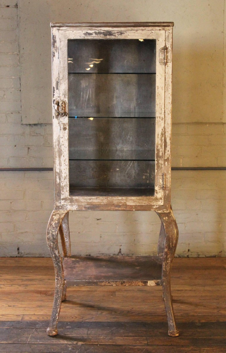Early 1900s Medical Cabinet with Cabriole Legs, Steel and Glass Apothecary 2