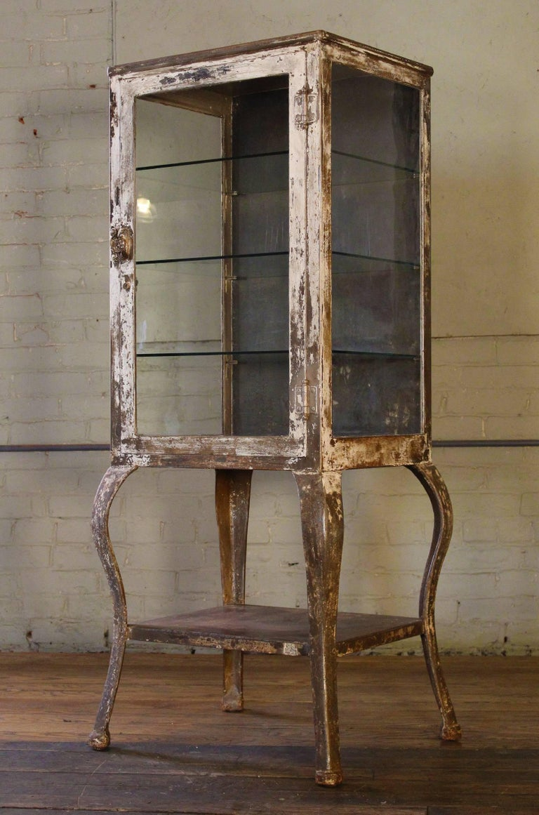 Antique Medical Cabinet With Cabriole Legs Steel And