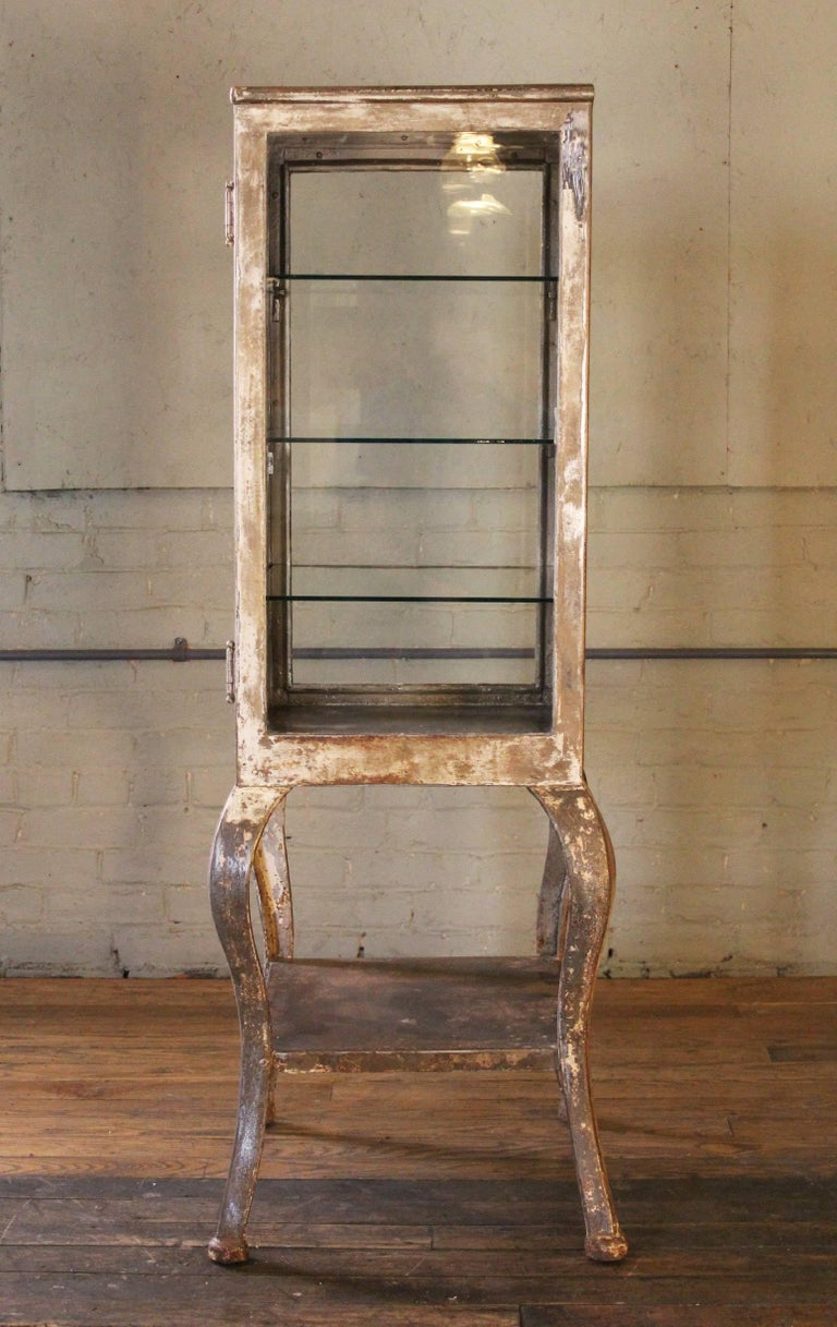 Antique Medical Cabinet with Cabriole Legs, Steel and Glass Apothecary 4
