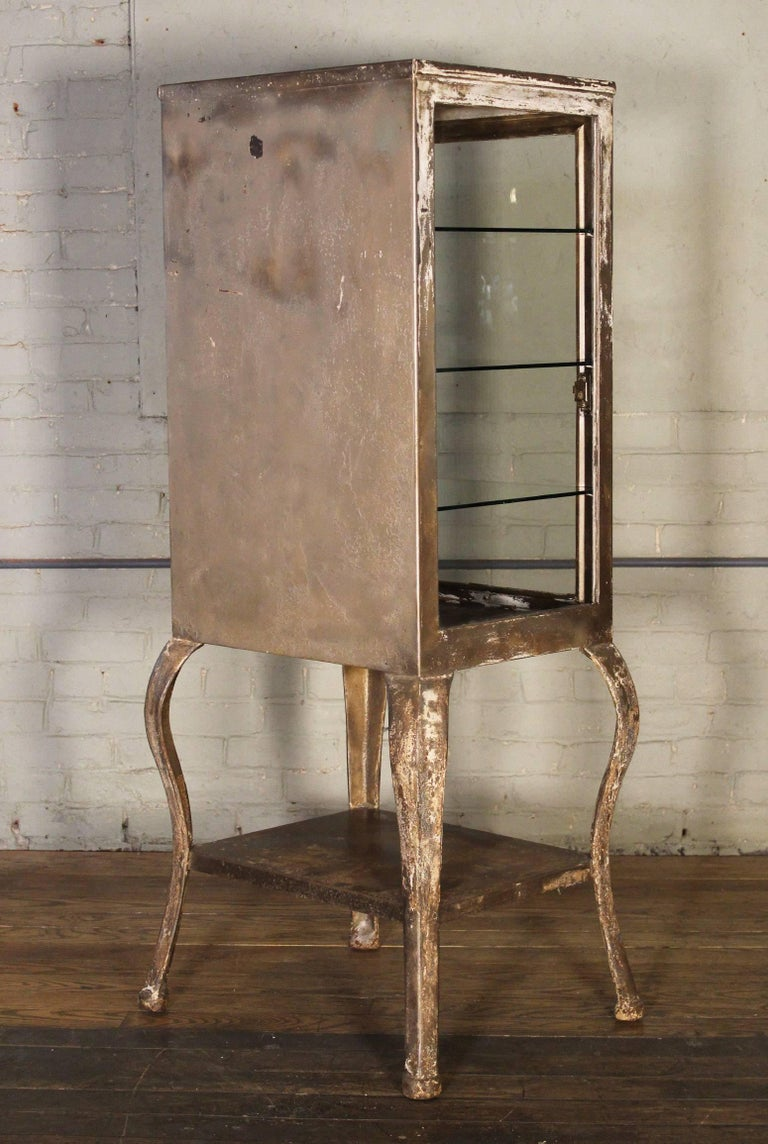 Antique Medical Cabinet with Cabriole Legs, Steel and Glass Apothecary 5