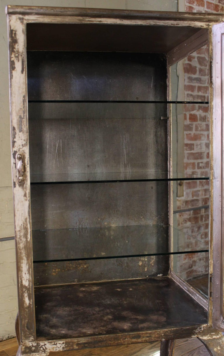 Early 1900s Medical Cabinet with Cabriole Legs, Steel and Glass Apothecary 8