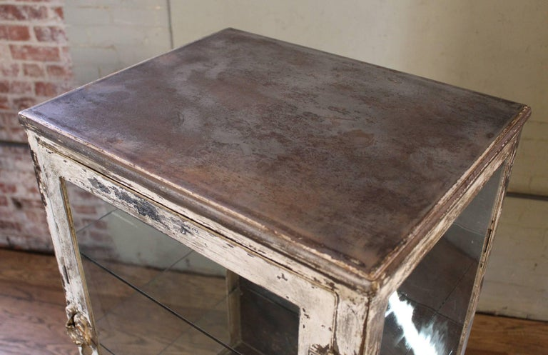Antique Medical Cabinet with Cabriole Legs, Steel and Glass Apothecary 10