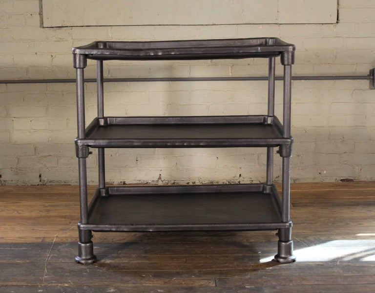 Authentic Industrial Adjustable Three-Tier Table, Cast Iron and Steel In Distressed Condition For Sale In Oakville, CT