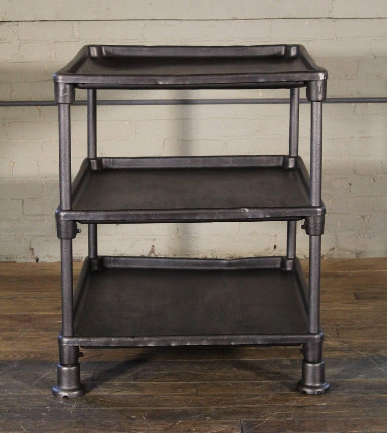 Authentic Industrial Adjustable Three-Tier Table, Cast Iron and Steel For Sale 3