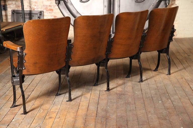 Theater Seats Vintage Original Wood And Steel Folding