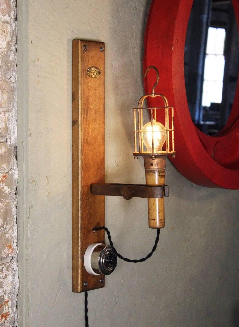 American Antique Drop-Light Sconces with Oak Plaque Arrow Porcelain Rotary Switches, Pair For Sale
