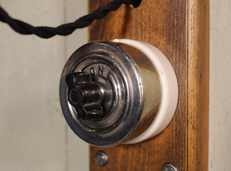 Antique Drop-Light Sconces with Oak Plaque Arrow Porcelain Rotary Switches, Pair For Sale 3