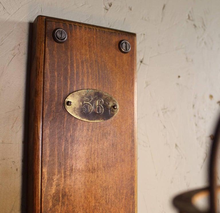 Metal Antique Drop-Light Sconces with Oak Plaque Arrow Porcelain Rotary Switches, Pair For Sale