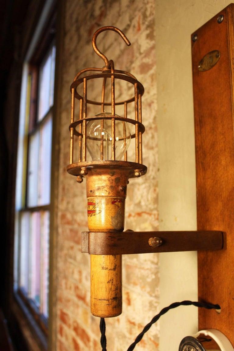 Antique Drop-Light Sconces with Oak Plaque Arrow Porcelain Rotary Switches, Pair 5