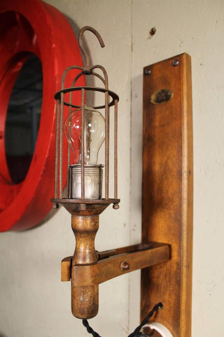 20th Century Antique Drop-Light Sconces with Oak Plaque Arrow Porcelain Rotary Switches, Pair For Sale