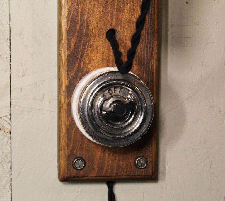 Antique Drop-Light Sconces with Oak Plaque Arrow Porcelain Rotary Switches, Pair For Sale 2