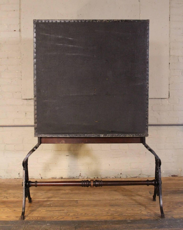 American Secretary Cabinet Gothic Cast Iron & Wood Paper Storage Cubby Vintage Industrial For Sale