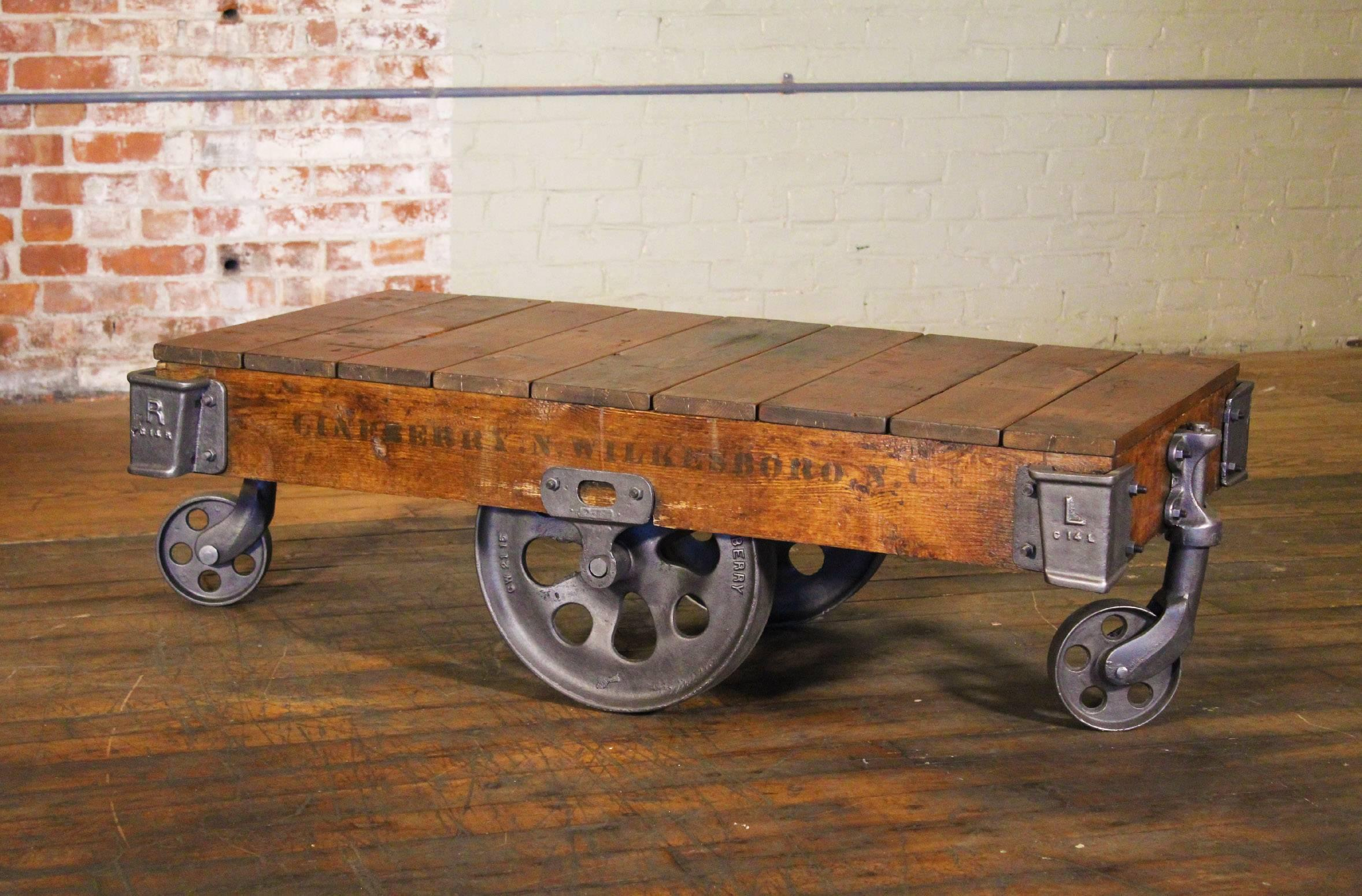 Vintage Industrial Rustic Wood And Cast Iron Factory Coffee Table Rolling  Cart At 1stdibs