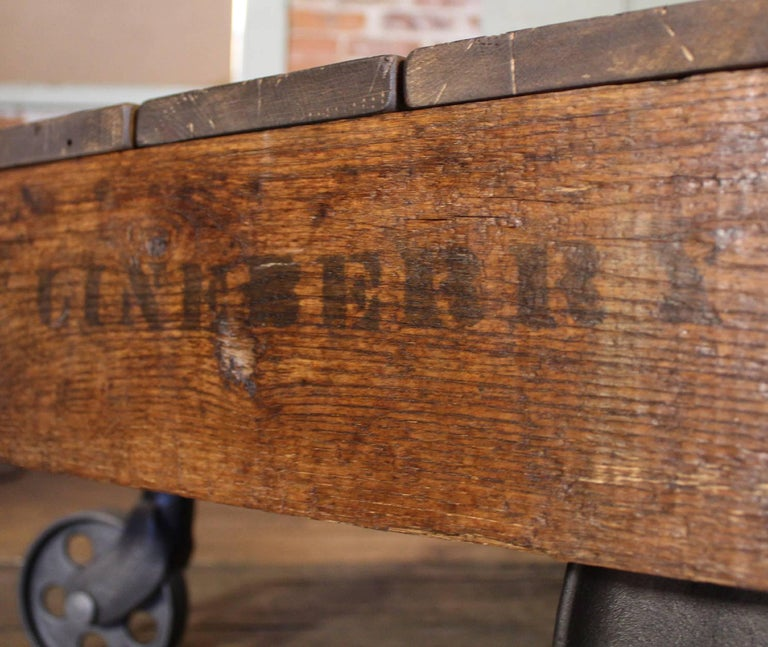 Industrial Rustic Factory Cart Coffee Table: Vintage Industrial Rustic Wood And Cast Iron Factory