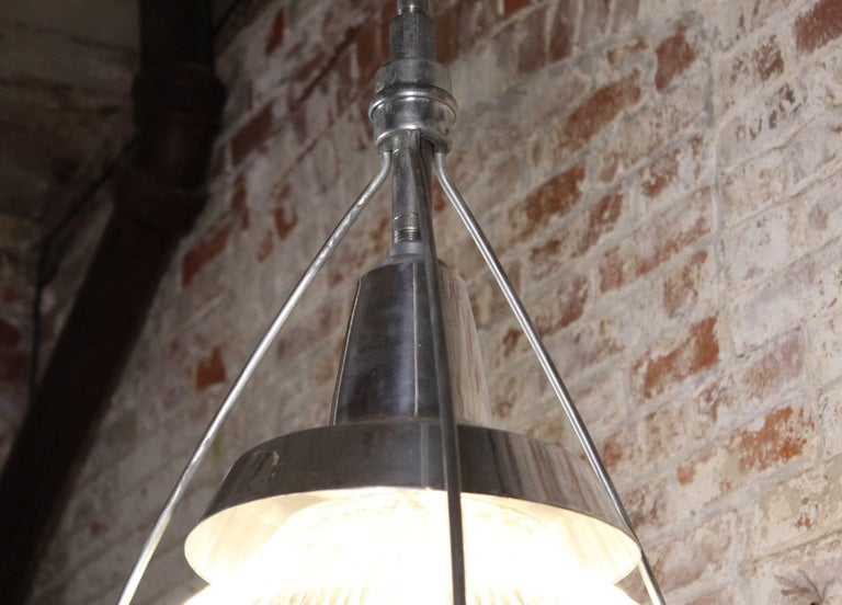 Vintage Industrial Three-Bulb Glass Holophane Pendant Hanging Light For Sale 4