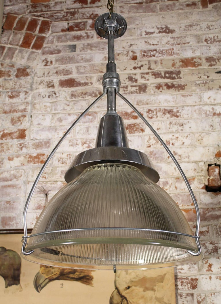 Vintage Industrial Three-Bulb Glass Holophane Pendant Hanging Light In Good Condition For Sale In Oakville, CT