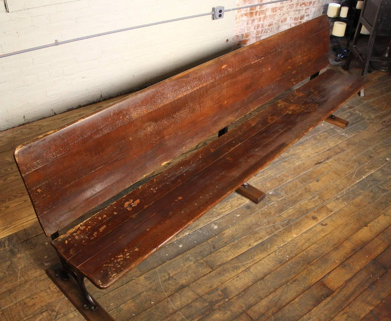 Antique Maple And Cast Iron Folding Station Bench Seat