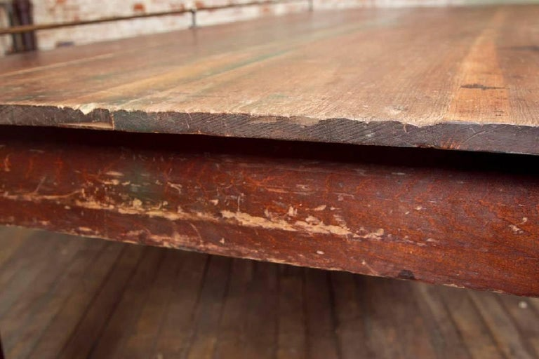 Vintage Wooden Store Display Table with Brass Rail For Sale 2