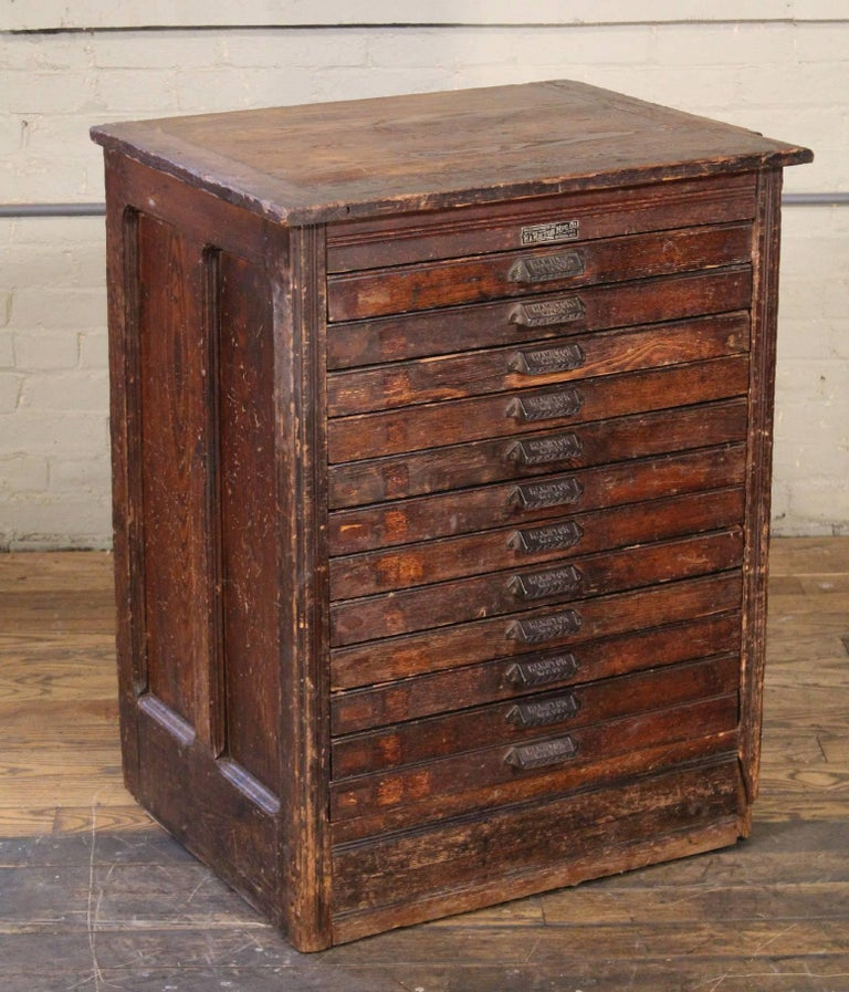 Vintage Wooden Flat File Storage Cabinet By Hamilton At