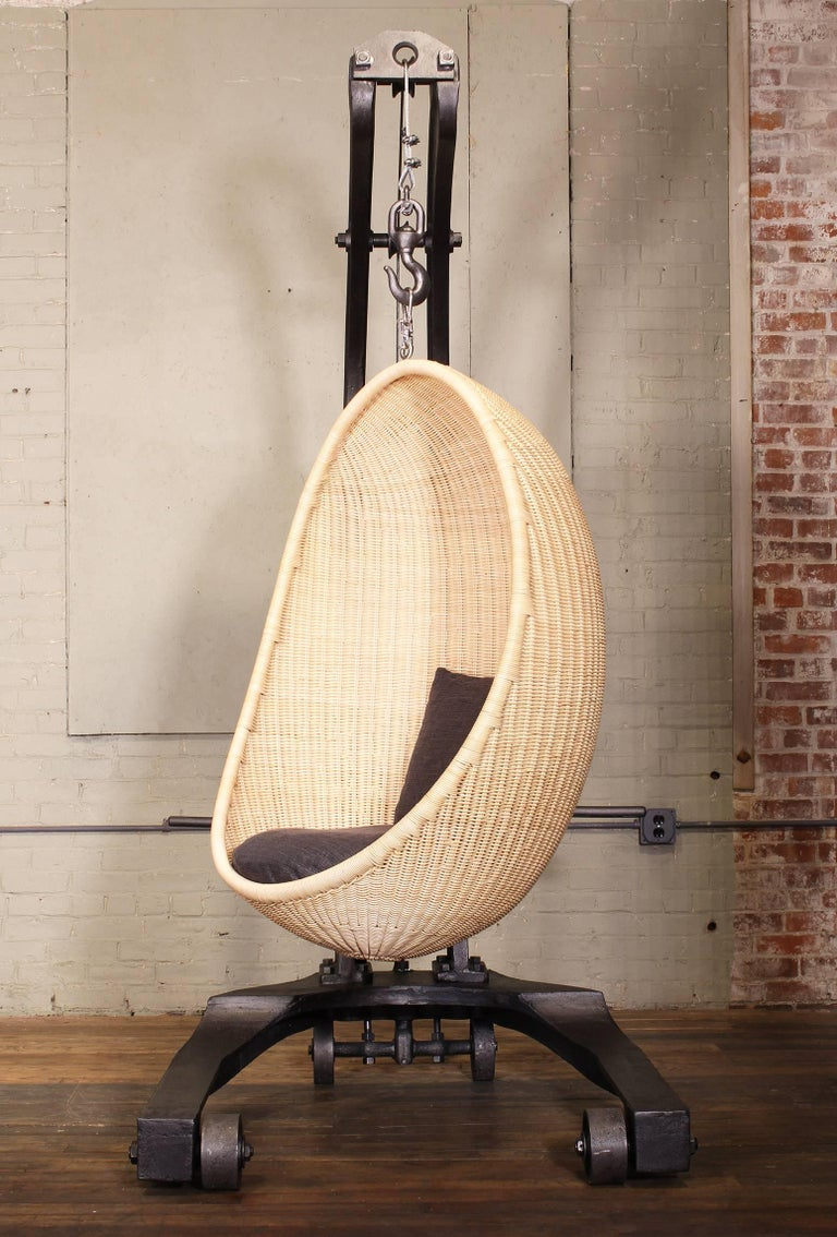 Industrial Engine Hoist Hanging Egg Chair For Sale