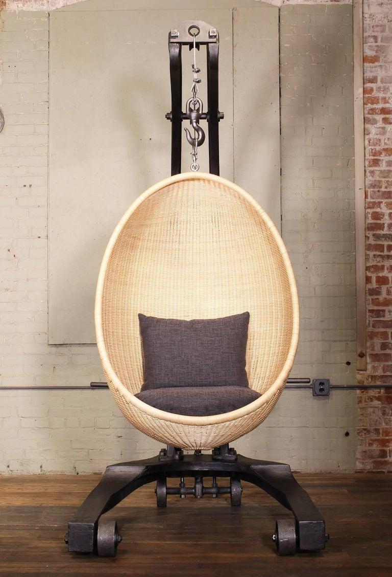 Cast Engine Hoist Hanging Egg Chair For Sale