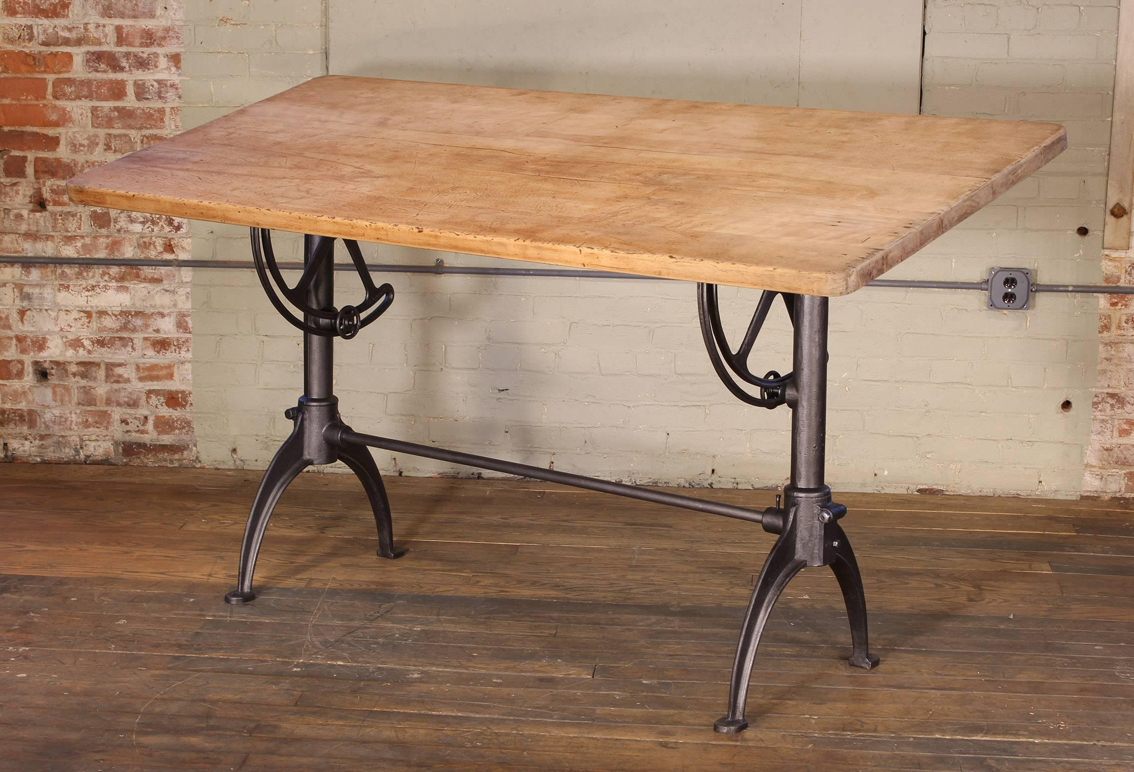 Ordinaire Vintage Tall Adjustable Drafting Table, Cast Iron And Maple. Top Can Be  Tilted To