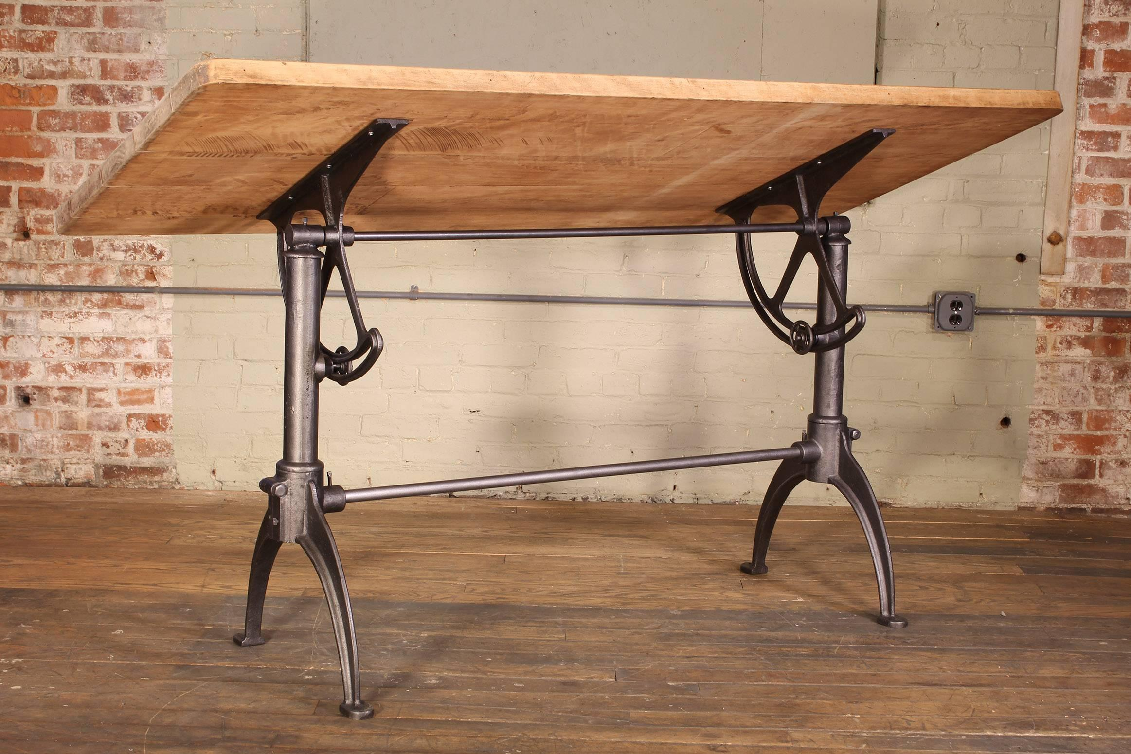 Cast Iron And Maple Vintage Adjustable Drafting Table At 1stdibs
