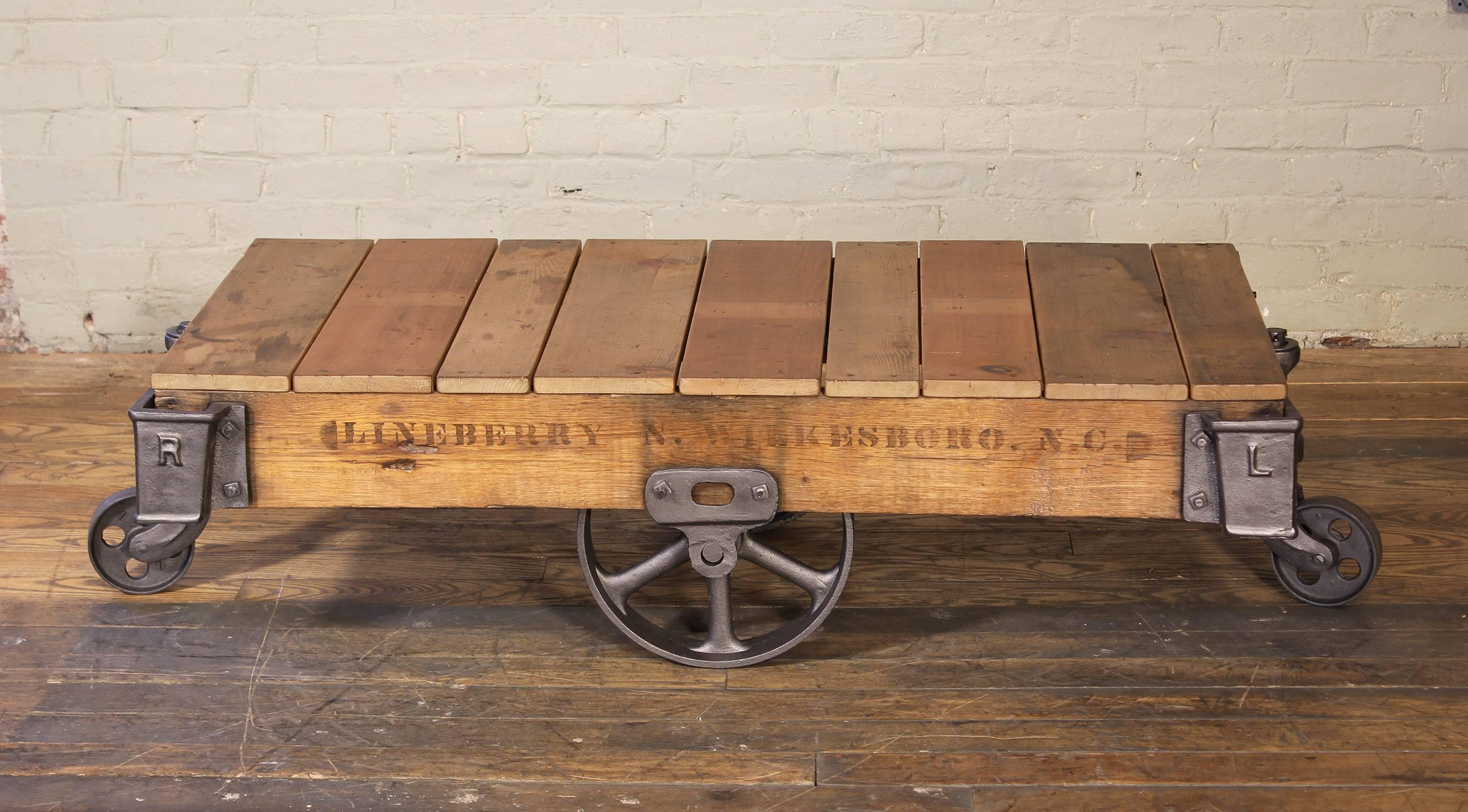 Vintage Rolling Cart Coffee Table Industrial Rustic Wood And Cast Iron Factory For At 1stdibs