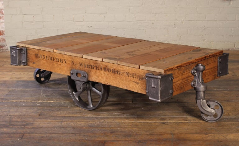 Trolley Coffee Table.Vintage Rolling Cart Coffee Table Industrial Rustic Wood And Cast Iron Factory