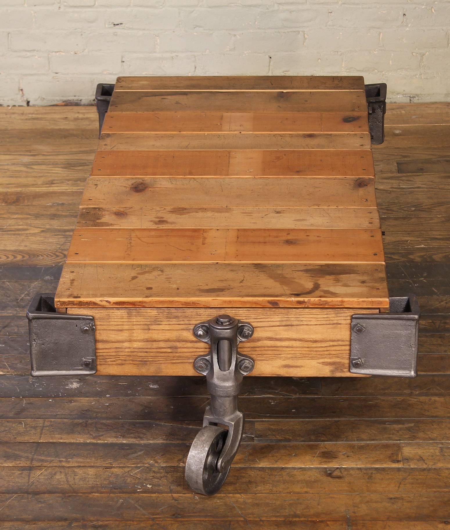 Vintage Rolling Cart Coffee Table Industrial Rustic Wood and Cast