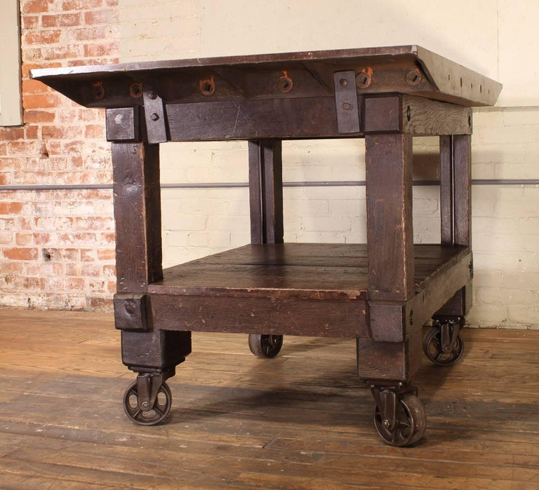 Rolling Table Kitchen Island, Wood and Cast Iron For Sale 3