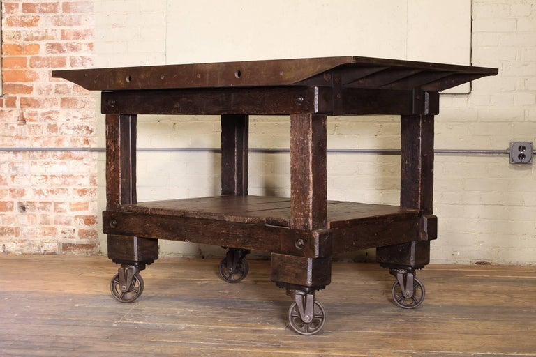 American Rolling Table Kitchen Island, Wood and Cast Iron For Sale
