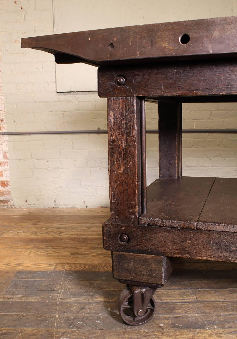 Rolling Table Kitchen Island, Wood and Cast Iron For Sale 2