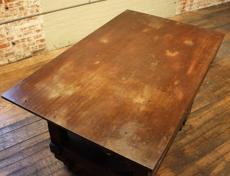 20th Century Rolling Table Kitchen Island, Wood and Cast Iron For Sale