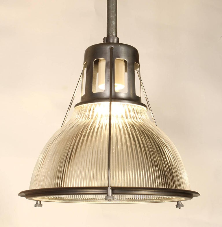 Vintage industrial glass & metal ceiling authentic original Holophane pendant lamp, light.  Pole cut to your specifications. Hook or disc supplied.