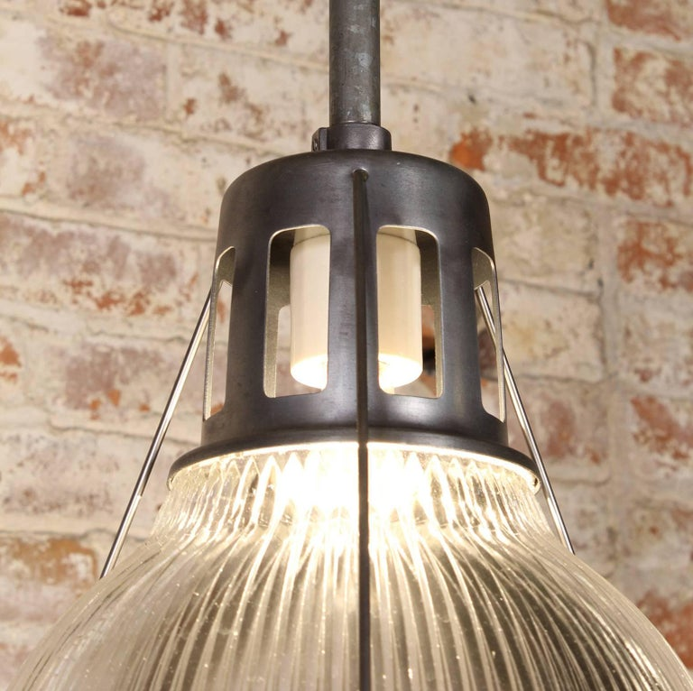Vintage Holophane Pendant Light, Lamp Metal and Glass For Sale 3