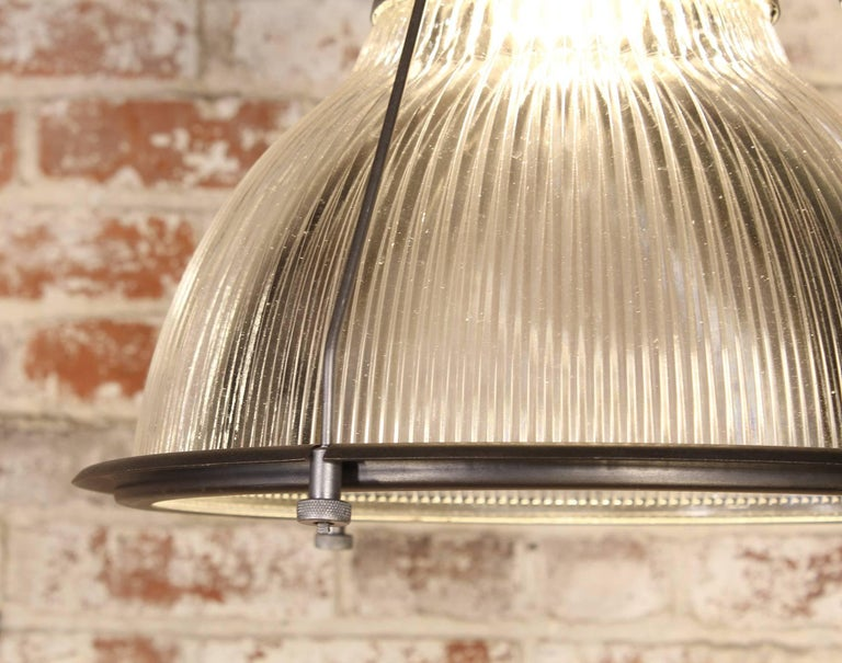 Industrial Vintage Holophane Pendant Light, Lamp Metal and Glass For Sale
