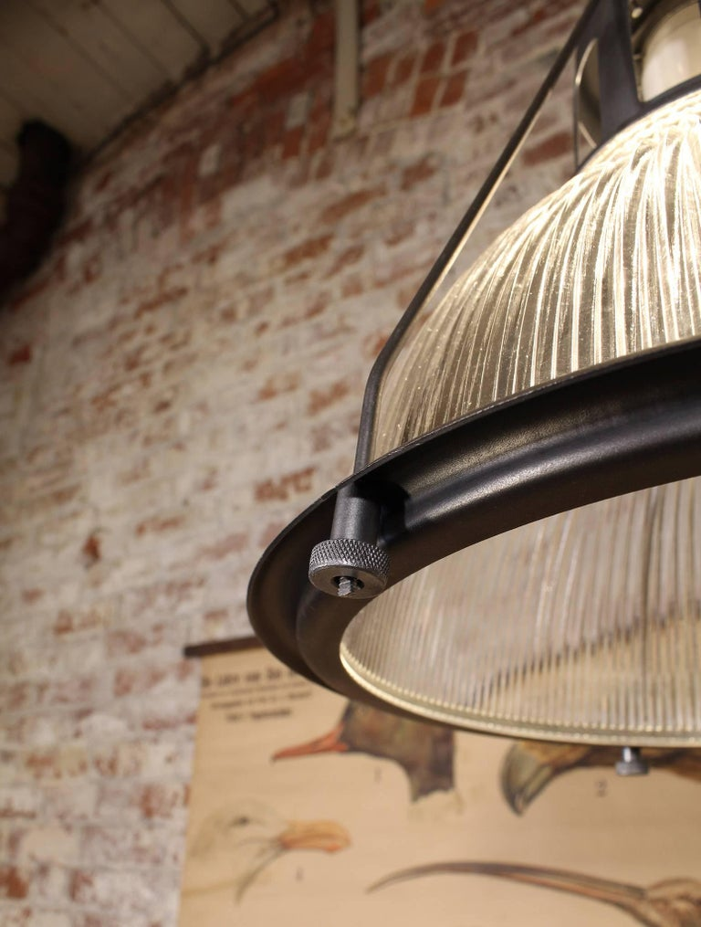 American Vintage Holophane Pendant Light, Lamp Metal and Glass For Sale