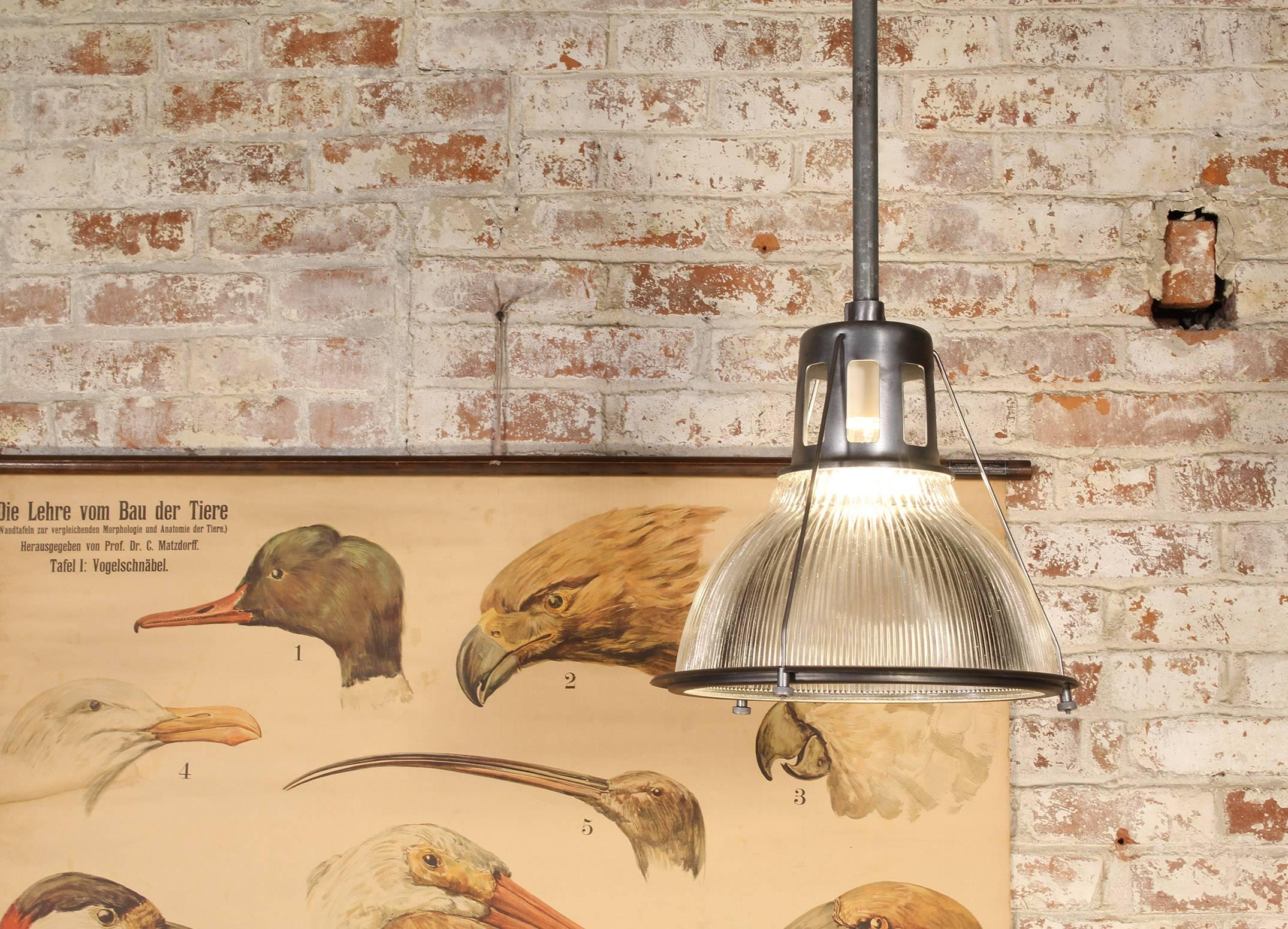 Vintage Holophane Pendant Light, Metal And Glass For Sale At 1stdibs