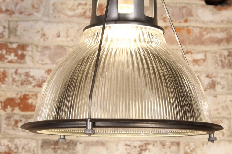 Vintage Holophane Pendant Light, Lamp Metal and Glass For Sale 4