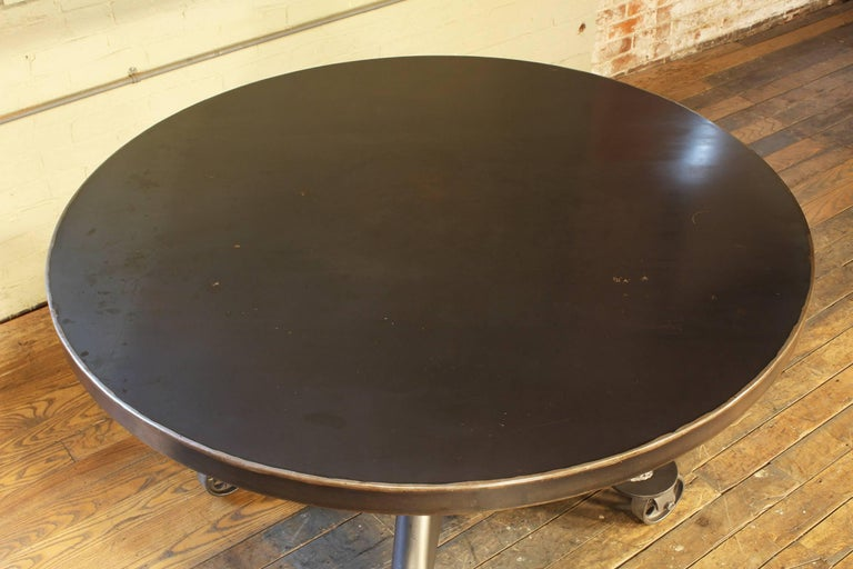 Industrial Dining Table - Steel with Round Top For Sale 2